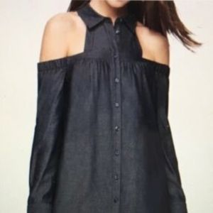 BCBG Denim button down dress with sleeves